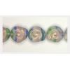 Glass Bead Swirl 12x11mm Strung Crystal/Blue/Green/Purple/Gold